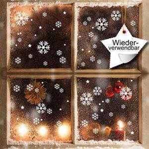 Wandtattoo-Loft XXL Fensterbild Schneeflocken 120 x Aufkleber im Set – WIEDERVERWENDBAR – Schneeflocken, Sterne und Punkte Fensteraufkleber/Fensterbilder/Fensterdeko Set