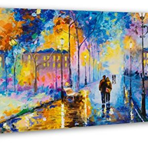 YS-Art | Acryl Gemälde Romantischer Abend | Handgemalte Leinwand Bilder | 130x70cm | Wandbild Acrylgemälde | Moderne…