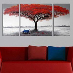 Gemälde auf Leinwand, modernes Landschaftsbild, abstraktes Ölbild auf Leinwand, 3-teilig, handgemalte Baum-Gemälde für…