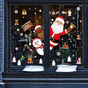 Yuson Girl Weihnachten Aufkleber Fenster Weihnachtsmann Elch Schneemann Abnehmbare Weihnachten Deko Wandtattoo…
