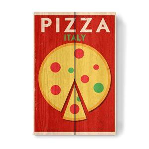 artboxONE Holzbild 30×20 cm Essen & Trinken Retro Italian Pizza von Künstler Kursat Unsal