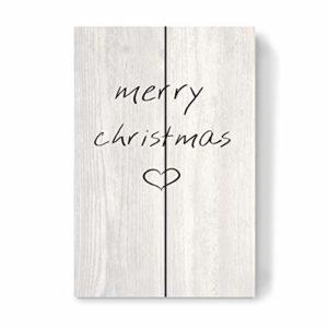 artboxONE Holzbild 30×20 cm Schwarzweiß Merry Christmas Herz von Künstler Mia Nissen