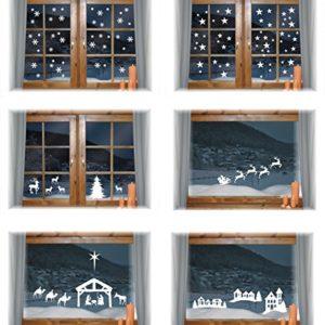 das-label Wiederverwendbare winterliche Fensterbilder weiß | Dörfchen mit Sternen und Kirche | Weihnachten | Fensterdeko | konturgetanzt ohne transparenten Hintergrund (Dörfchen mit Sterne)