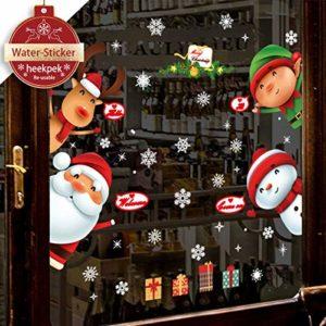 heekpek Weihnachtsmann an Weihnachten Fensterdeko Fensterbilder Winterlandschaft Weihnachtsmann Weihnachtselche…