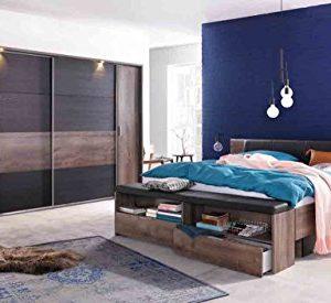 lifestyle4living Schlafzimmer, Schlafzimmer-Set, Futonbett, Bett, Bettanlage, Kopfteilpolster, Drehtürenschrank…