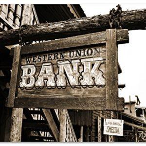 western bank Bild auf PVC-Plane/Banner, Hochwertiger XXL Kunstdruck als Wandbild inkl. Ösen!!