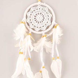 HAGO hochwertiger Traumfänger für angenehme Träume – Handgemachter Dreamcatcher mit echten Federn und Holz Perlen – Traum Fänger in weiß