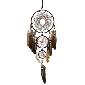 Traumfänger–Dreamcatcher Federn Dekoration Haus Wand Innen Ornament Indischen Stil Handgefertigt Hängekorb Geschenke Traumfänger klein Mädchen – Braun